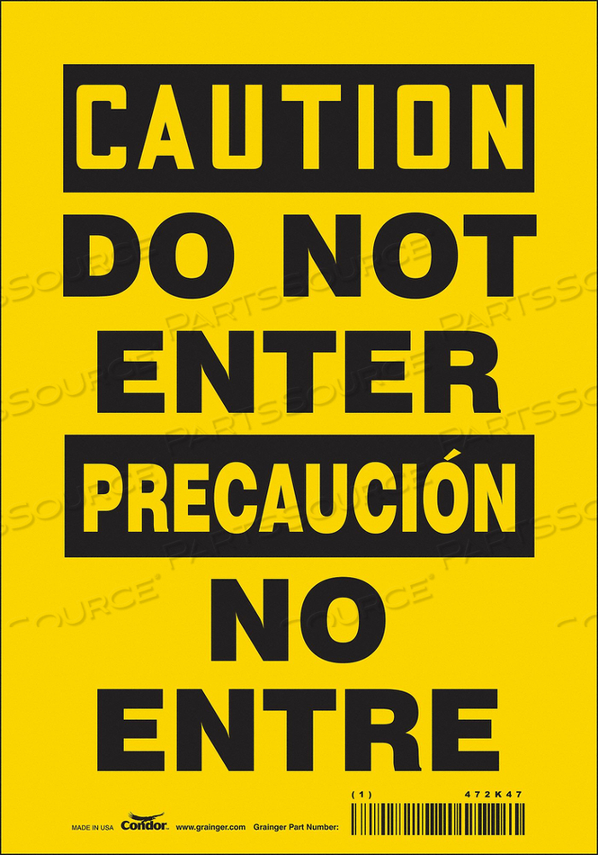 SAFETY SIGN 7 W 10 H 0.004 THICKNESS by Condor