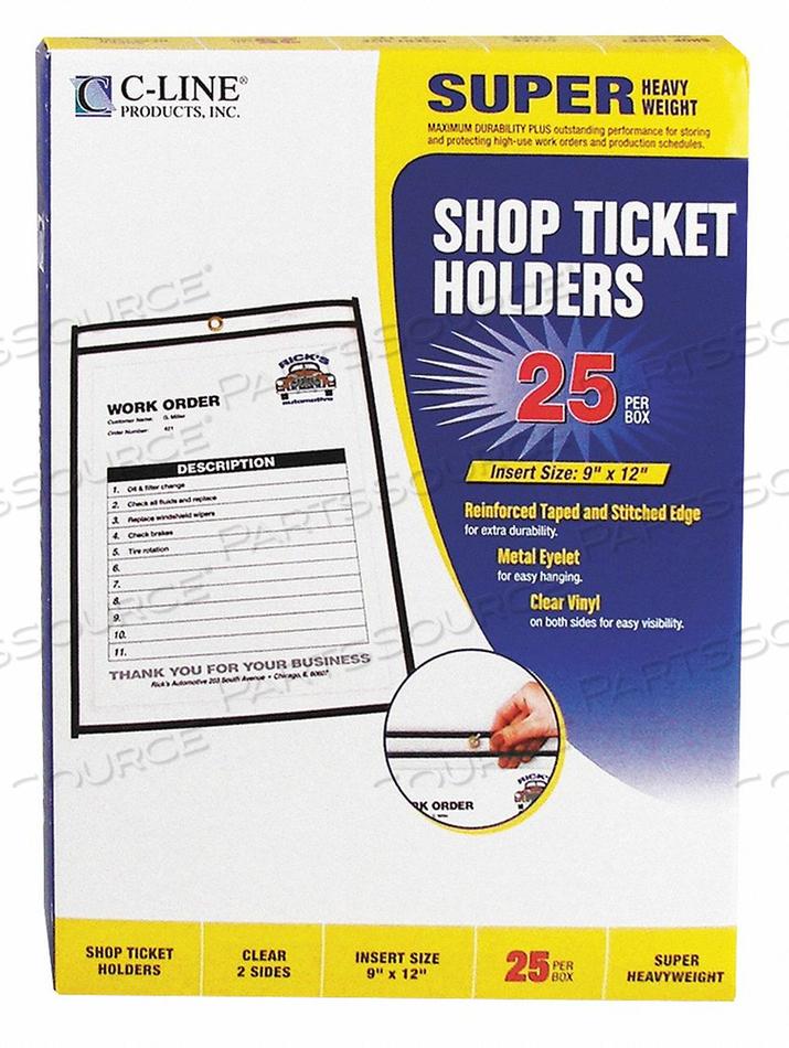 HOLDER SHOP TICKET 2 SIDES 9X12 PK25 by C-Line