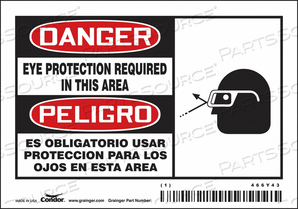 SAFETY SIGN 5 W 3-1/2 H 0.020 THICK PK5 by Condor
