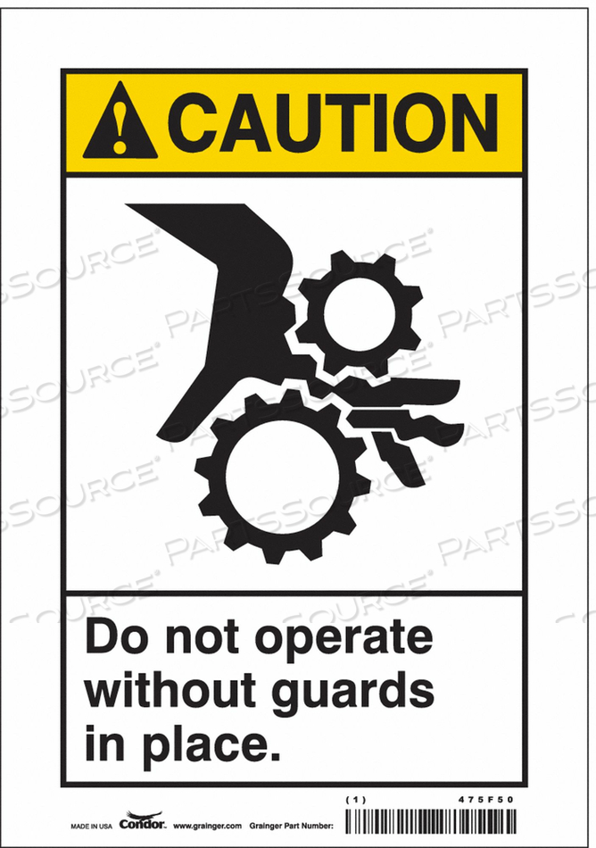 SAFETY SIGN 7 WX10 H 0.004 THICKNESS by Condor