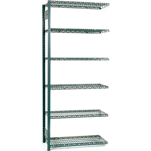 """V-GRIP WIRE SHELVING - 48""""W X 24""""D X 60""""H - 4 SHELVES - ADD ONUNIT - TEXTURED BLUE by Equipto"""