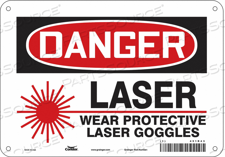 LASER WARNING 10 W 7 H 0.032 THICK by Condor