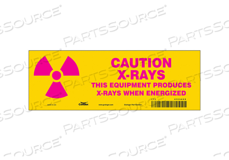 RADIATION SIGN CAUTION HEADER 3-1/2 H by Condor