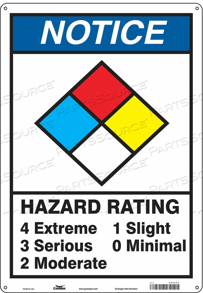 CHEMICAL SIGN 14 W 20 H 0.055 THICKNESS by Condor