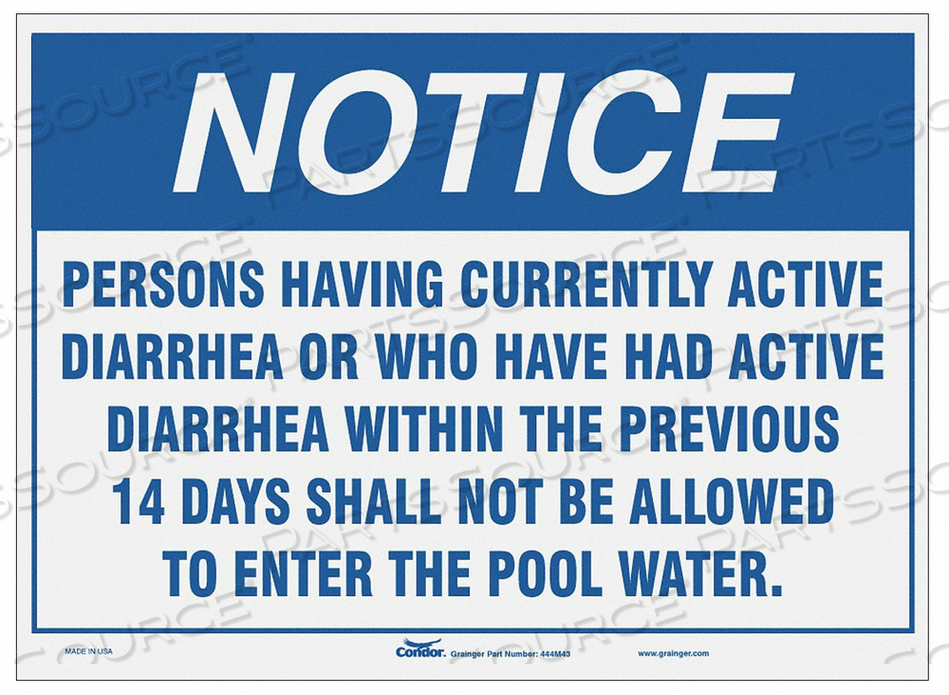 SAFETY POOL RULES SIGN 14 H 20 W by Condor