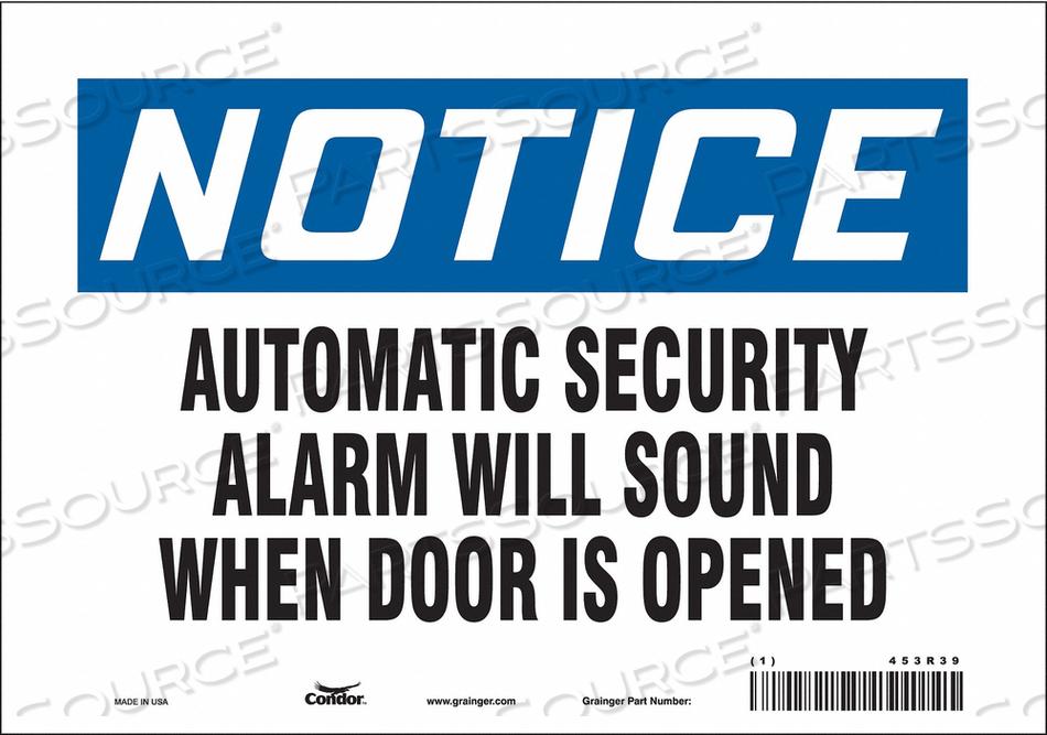 SECURITY SIGN 7 H 10 W VINYL by Condor