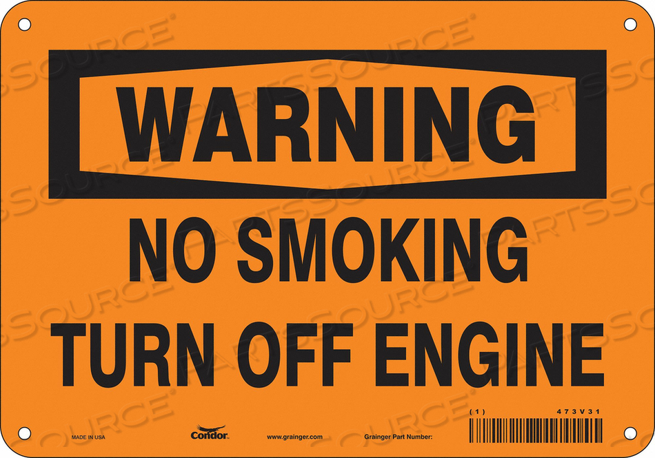 NO SMOKING SIGN 10 WX7 H 0.032 THICK by Condor