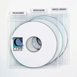 INDIVIDUAL CD/DVD HOLDERS WITH INDEX TABS, CLEAR, 9/PK (SET OF 10 PK) by C-Line