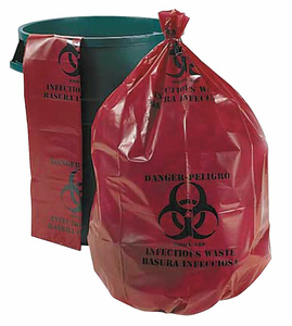 BIOHAZARD BAGS 55 GAL. RED PK25 by Ability One