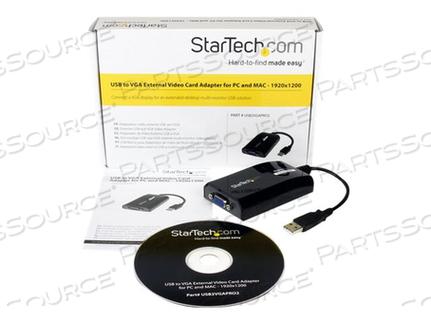 STARTECH.COM USB TO VGA ADAPTER - EXTERNAL USB VIDEO GRAPHICS CARD - EXTERNAL VIDEO ADAPTER - DISPLAYLINK DL-195 - 16 MB - USB 2.0 - D-SUB - BLACK by StarTech.com Ltd.