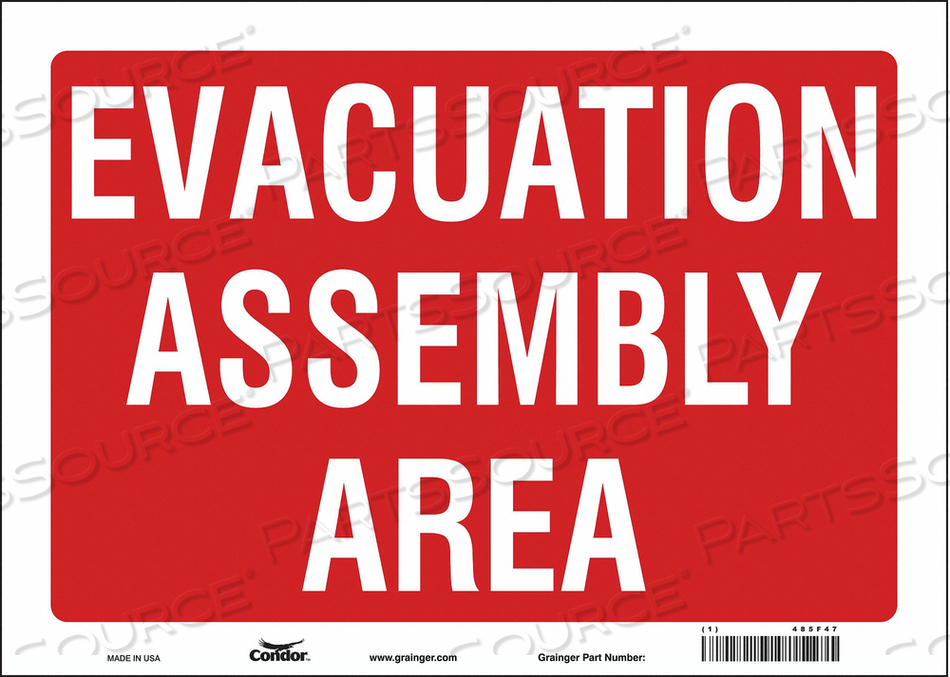 J9330 SAFETY SIGN 14 WX10 H 0.004 THICK by Condor