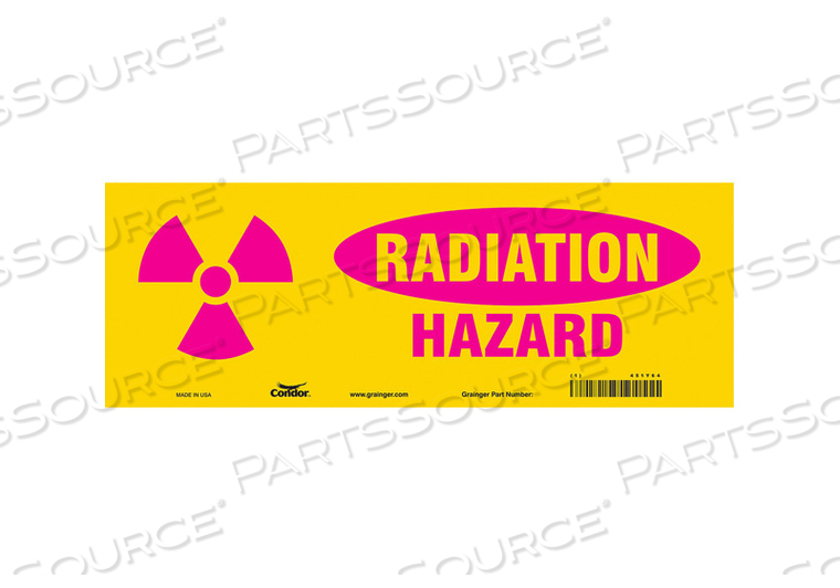 RADIATION SAFETY SIGN VINYL 5 H by Condor