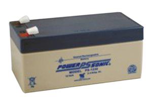 BATTERY, LEAD ACID, 3.4 AH, 12 V, FASTON SPADES 0.187 IN, 2.64 X 2.6 X 5.23 IN by R&D Batteries, Inc.