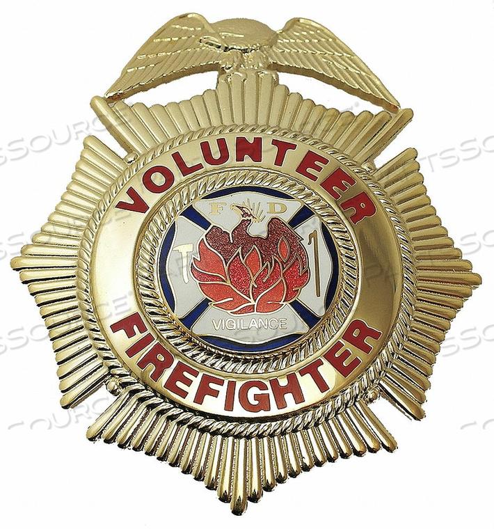 METAL BADGE VOLUNTEER FIREFIGHTER CROSS by Heros Pride