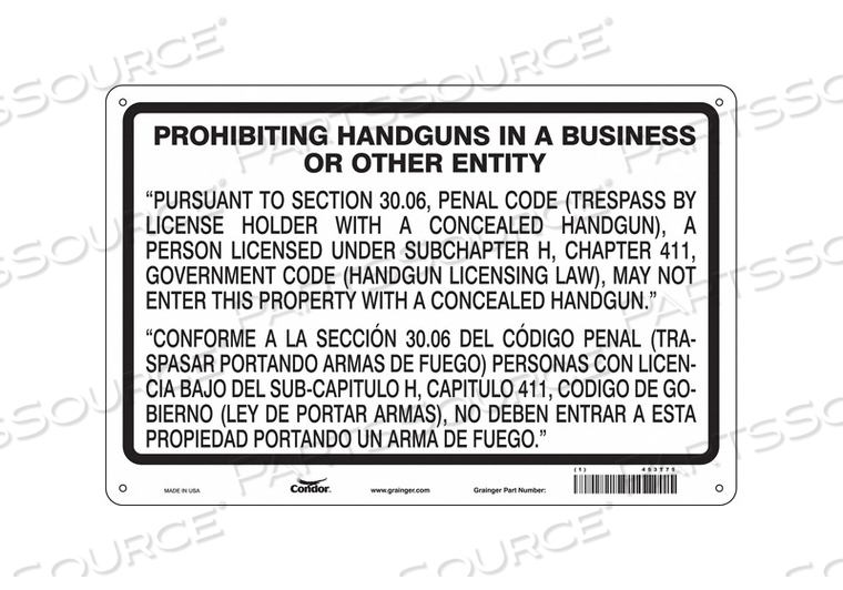 NO CONCEALED WEAPONS SIGN 36 W 24 H by Condor