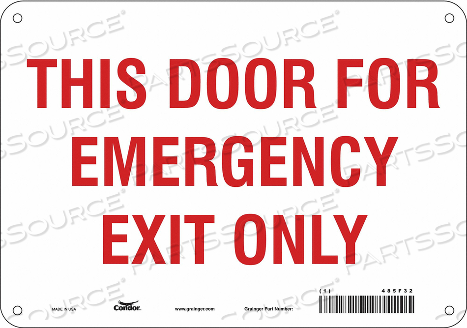 SAFETY SIGN EMERGENCY EXIT ONLY 7 X10 by Condor