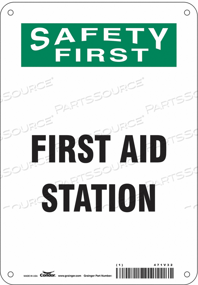 FIRST AID SIGN 7 W X 10 H 0.032 THICK by Condor