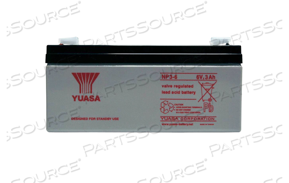BATTERY, SEALED LEAD ACID, 6V, 3 AH, FASTON (F1)