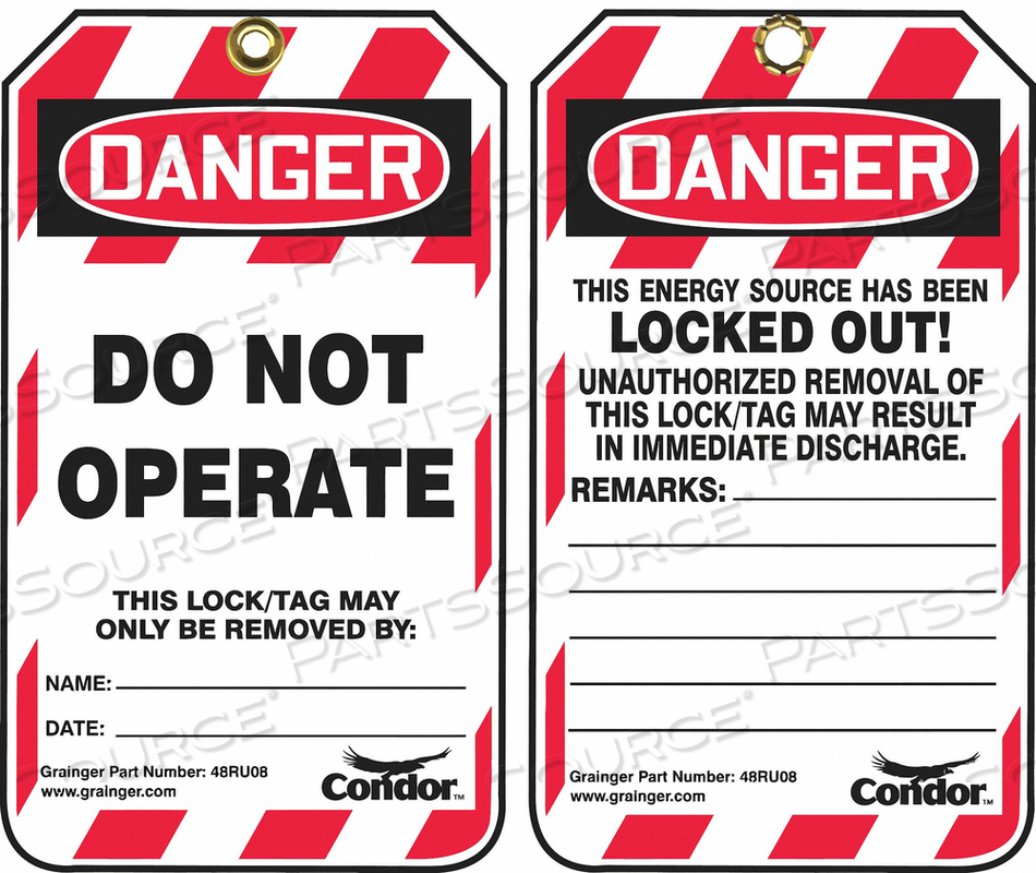 LOCKOUT TAG 3-1/4 IN W PK25 by Condor