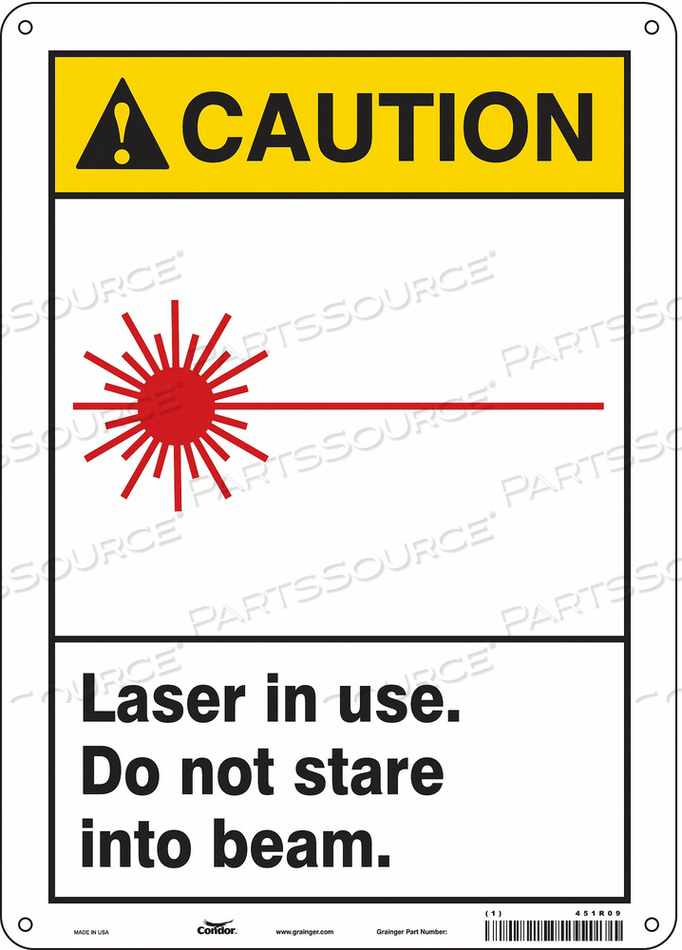 LASER WARNING 10 W 14 H 0.004 THICK by Condor