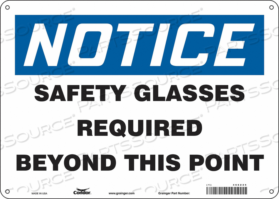 J7003 SAFETY SIGN 14 W 10 H 0.032 THICKNESS by Condor
