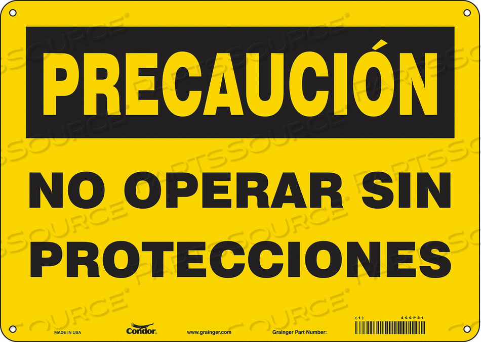 SAFETY SIGN 10 H 10 W ALUMINUM by Condor
