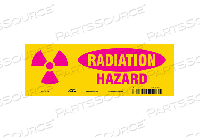 RADIATION SAFETY SIGN VINYL 3-1/2 H by Condor