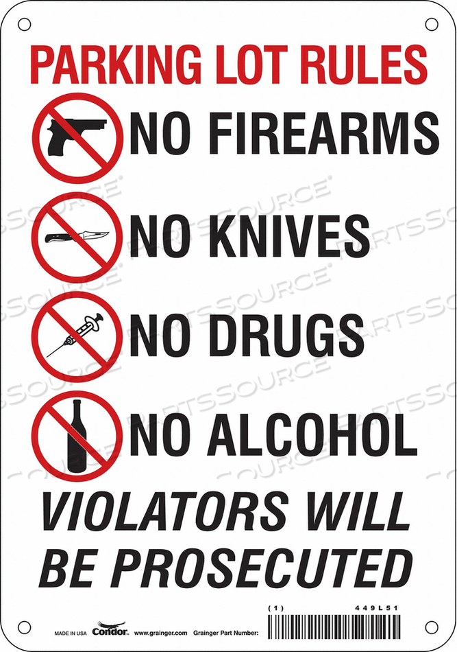 SAFETY SIGN 10 H X 7 W 0.060 THICK by Condor