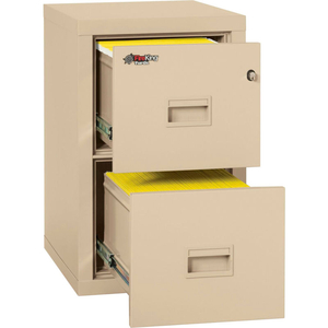 """FIREPROOF 2 DRAWER VERTICAL FILE CABINET LEGAL-LETTER 17-3/4""""WX22-1/8""""DX27-3/4""""H BLACK by Fire King"""