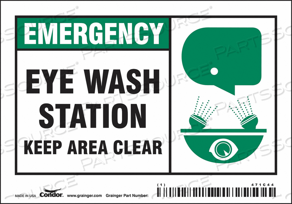 J6977 SAFETY SIGN 5 W X 3.5 H 0.004 THICK by Condor