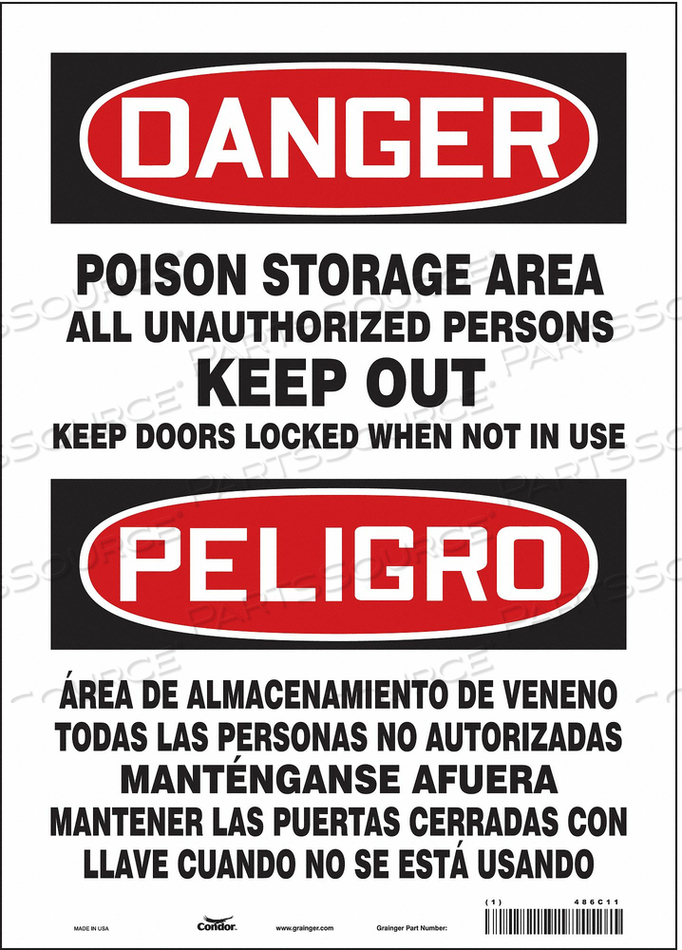 CHEMICAL SIGN 10 W 14 H 0.004 THICKNESS by Condor