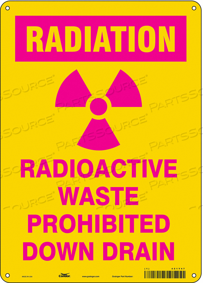 RADIATION SAFETY SIGN PLASTIC 14 H by Condor