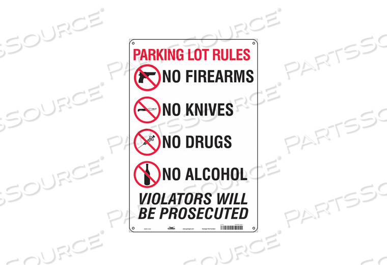 SAFETY SIGN 18 H X 12 W 0.032 THICK by Condor