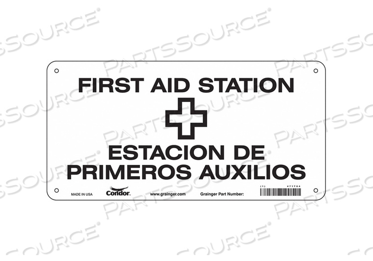 FIRST AID SIGN 14 W X 7 H 0.055 THICK by Condor