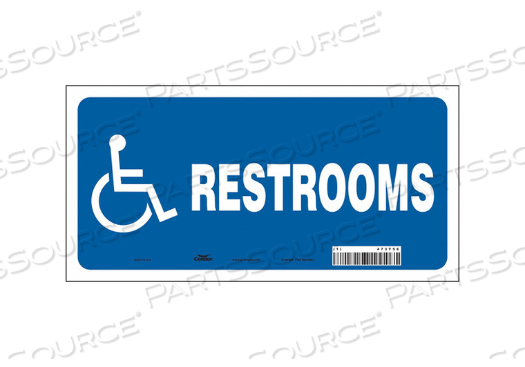 RESTROOM SIGN 12 W 6 H 0.004 THICK by Condor