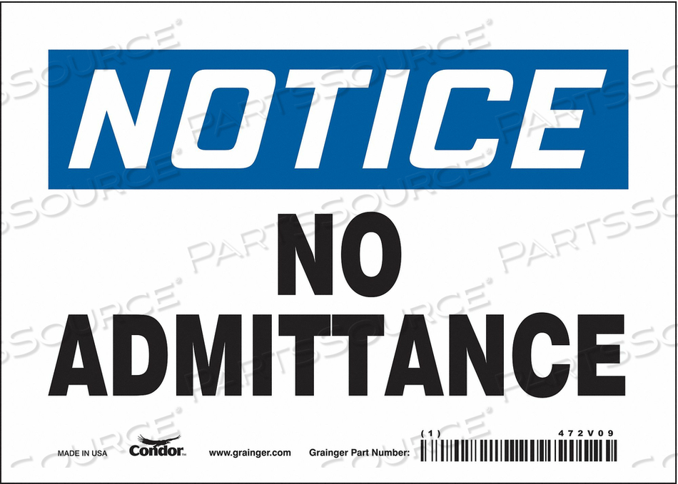 J6998 SAFETY SIGN 7 W 5 H 0.004 THICKNESS by Condor
