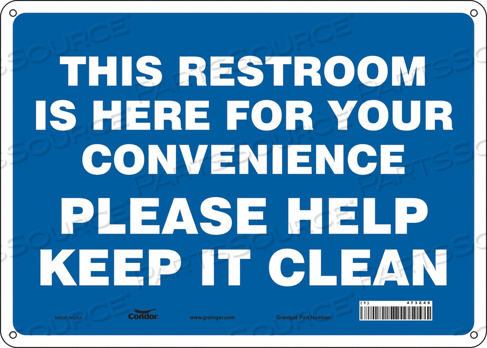 RESTROOM SIGN 14 W 10 H 0.032 THICK by Condor