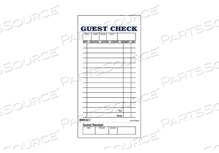 GUEST CHECKS  RECEIPTS PK50 by Daymark