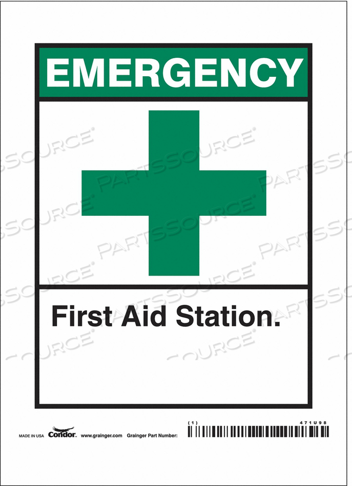 FIRST AID SIGN 5 W X 7 H 0.004 THICK by Condor