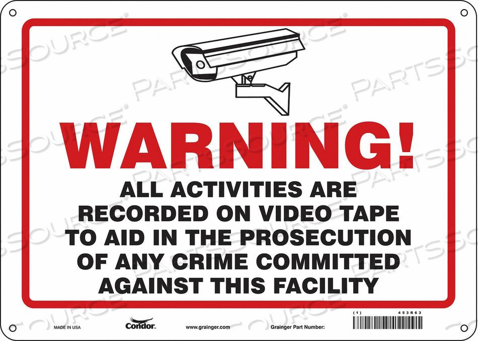 SECURITY SIGN 10 H 14 W PLASTIC by Condor
