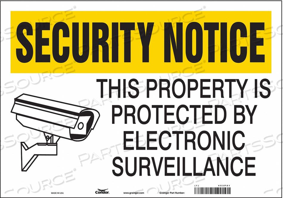 J7030 SECURITY SIGN 14 H 20 W VINYL by Condor