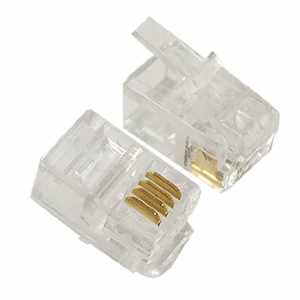 PHONE / DATA RJ22 CRIMP CONNECTORS FOR FLAT CABLE, 4P4C, 100 PIECES by CableWholesale.com