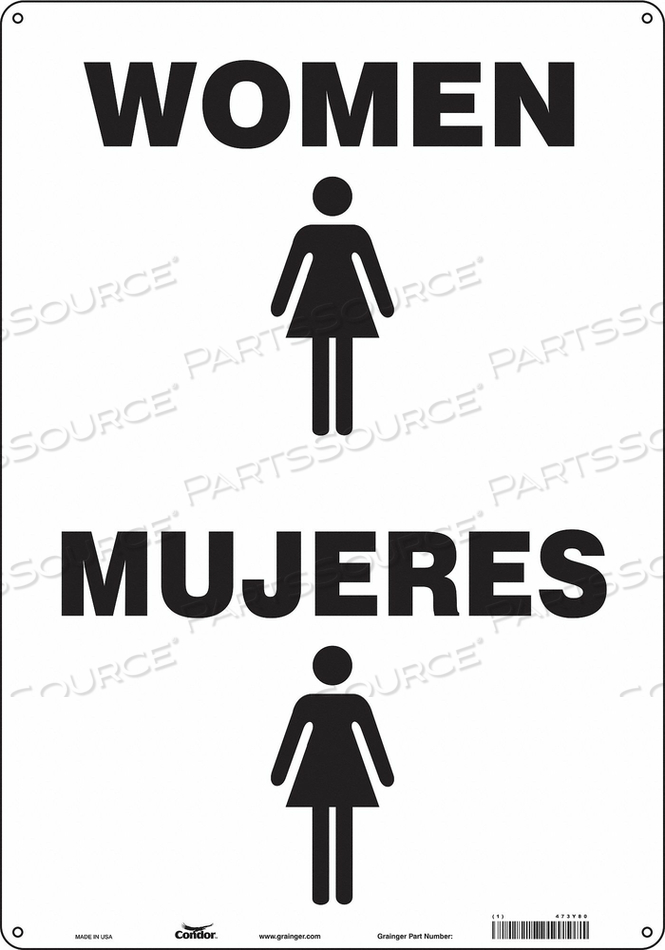 RESTROOM SIGN 14 W 20 H 0.060 THICK by Condor