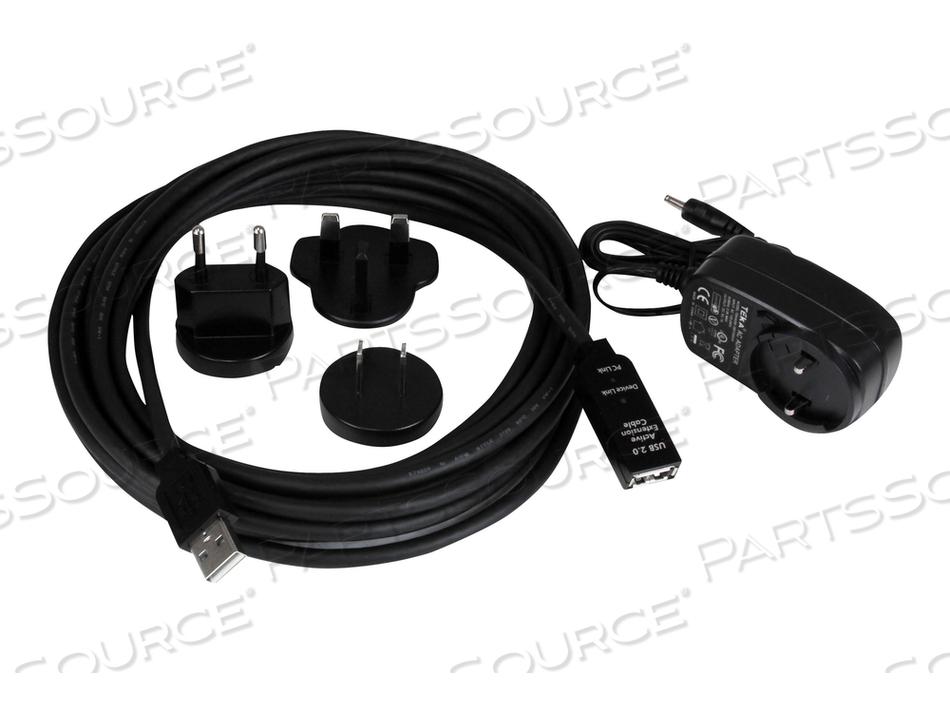 STARTECH.COM 5M USB 2.0 ACTIVE EXTENSION CABLE - M/F - USB EXTENSION CABLE - USB (F) TO USB (M) - 16.4 FT ( USB / USB 2.0 ) - ACTIVE CABLE (SIGNAL REGENERATION) - BLACK by StarTech.com Ltd.