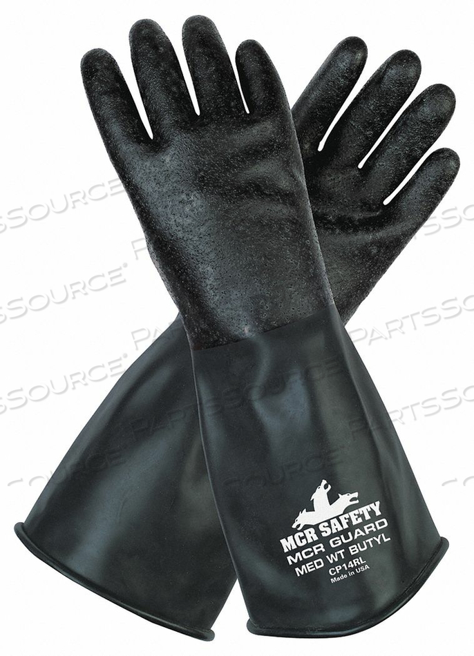 CHEMICAL GLOVES M 14 IN L ROUGH PR by MCR Safety