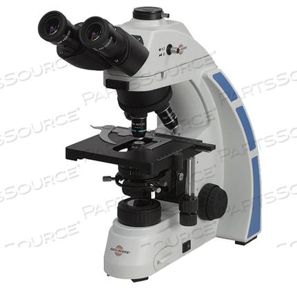 TRINOCULAR MICROSCOPE, WF10X FOCUSABLE EYEPIECE, 4X, 10X, 40XR, 100XR, CAST ALLOY ALUMINUM STAND, 199 MM X 397 MM X 294 MM by Accu-scope Incorporated
