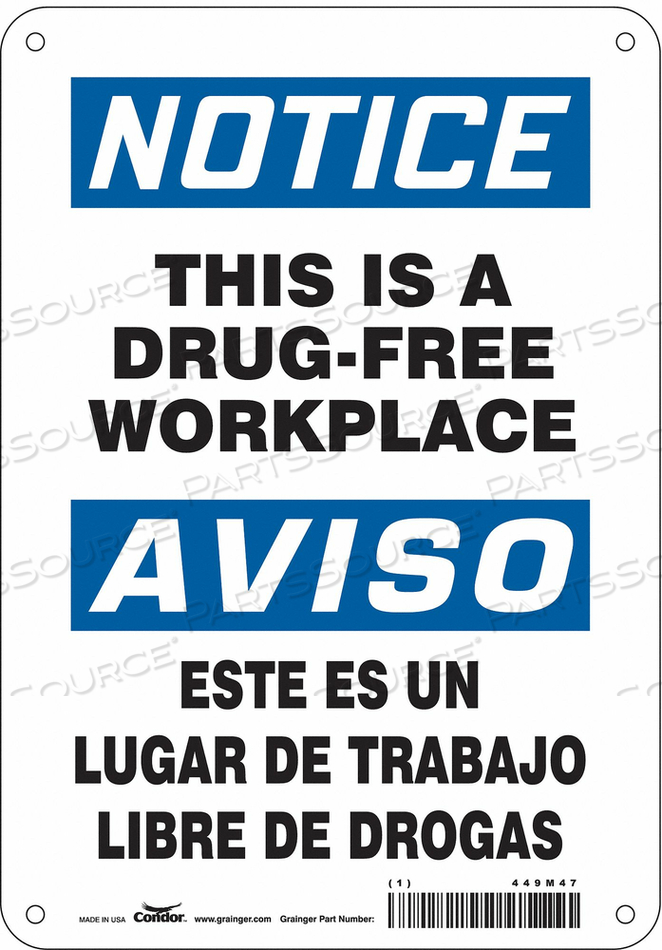 SAFETY SIGN 10 H X 7 W 0.004 THICK by Condor
