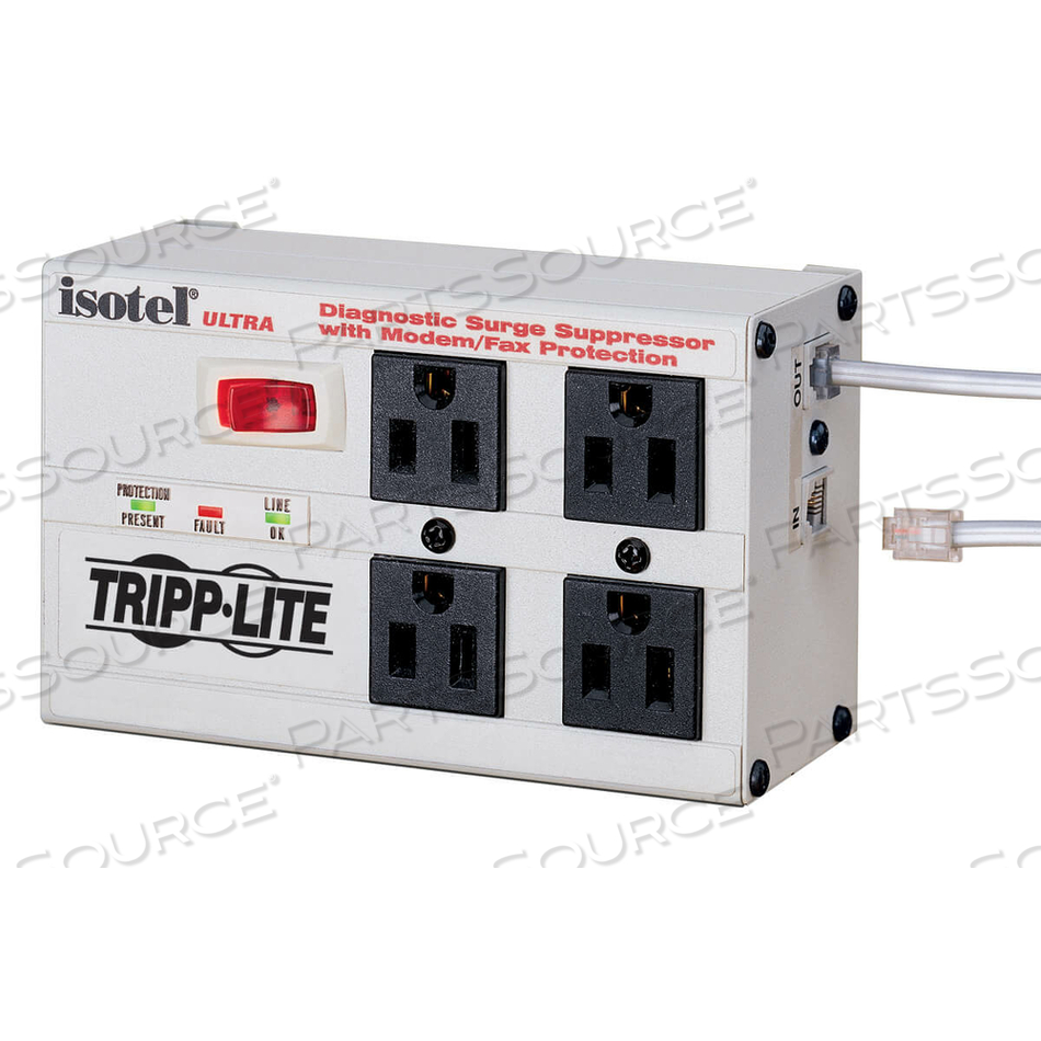 TRIPP LITE ISOBAR SURGE PROTECTOR METAL RJ11 4 OUTLET 6FT CORD 3330 JOULE by Tripp Lite