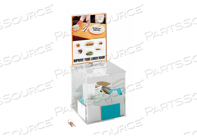 COLLECTION BOX LARGE ACRYLIC CLEAR by Safco
