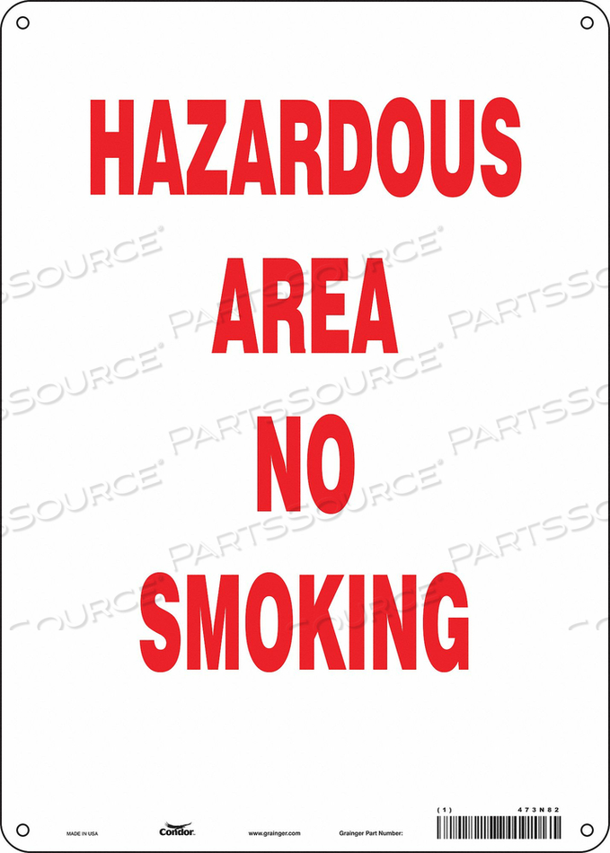 NO SMOKING SIGN 10 WX14 H 0.055 THICK by Condor